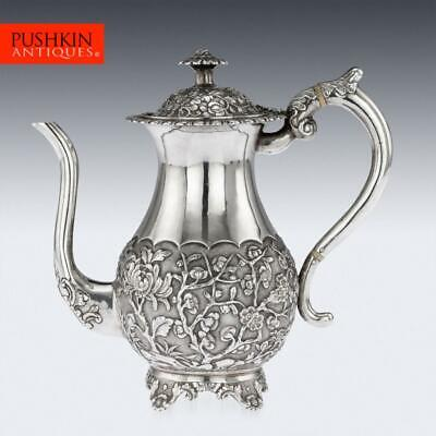 ANTIQUE 19thC CHINESE EXPORT SOLID SILVER COFFEE POT, HOACHING c.1860