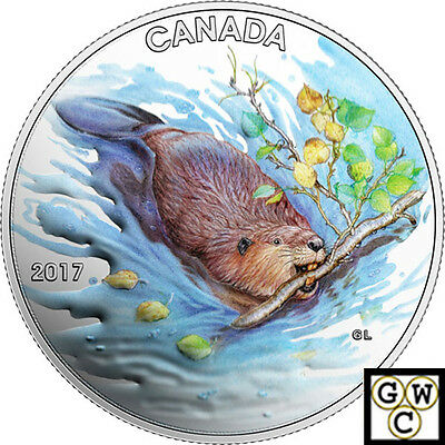 2017'The Beaver' Colorized Matte-Prf $10 Silver Coin 1/2oz .9999 Fine(18123)(NT)