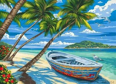 Classical Sea Beach Coconut Tree Paint By Numbers Kits For Adults DIY Painting