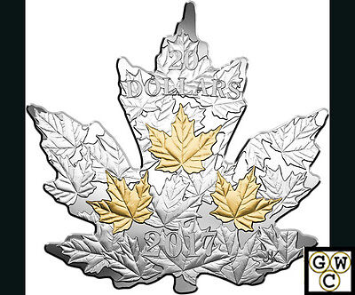 2017Gilded Silver Maple Leaf' Shaped Gold-Plated Prf $20 Coin 1oz .9999(18210)NT