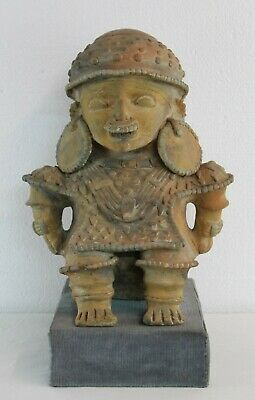 Pre-Columbian Style Mexico Carved Terracota red Idol Figure Early 20Th C.