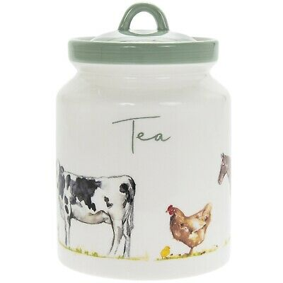 Country Life Farm Design Fine China Tea Canister Home Kitchen Storage Container