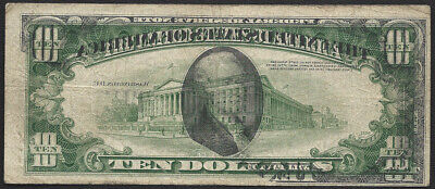 $10 1950=A=Frn=Early Series=Dark Partial Offset Front On Back=Very Fine