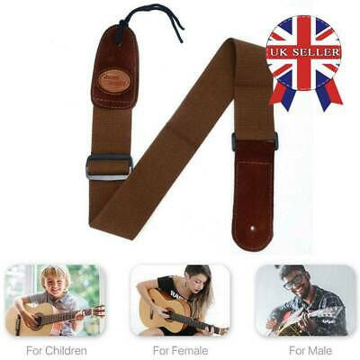 UK Adjustable Soft Leather Thick Strap For Electric Acoustic Guitar Bass NEW