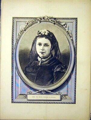 Original Old Antique Print Portrait Hrh Crown Princess Prussia 1870 Victorian