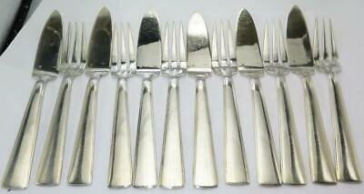Ercuis French Silverplate Fish Fork & Knife Set Serving for 6 - 12 pieces