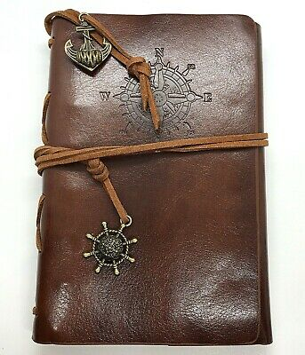 Faux Vintage Leather Journal Refillable Travel Notepad Notebook Nautical NEW
