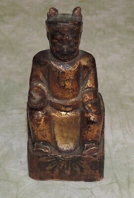 Antique Chinese Polychrome Gilt Hand Carved Wood Seated Emperor Statue Figure 4""