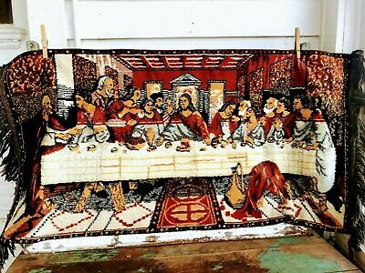 Vintage Rug Carpet Tapestry The last supper Jesus Religious With Fringe