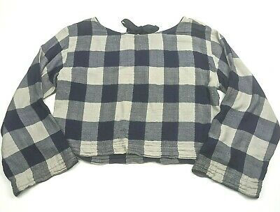 Anthropologie Small Top Cloth And Stone Plaid Shirt Blue Beige Tie Back Blouse