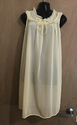 Sweet Vintage 1960s Yellow Baby Doll Nylon Nightgown Sheer Nightie Size Medium