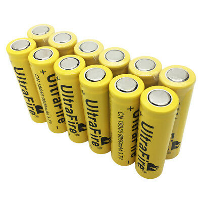 12X 18650 Batterie 9800mAh 3.7V Rechargeable Li-ion Battery Flat Top for Torch