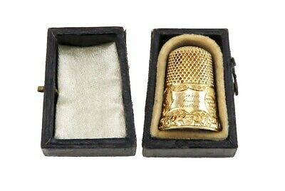 Antique 19th Century 14K Yellow Gold Sewing Thimble w/ Original Fitted Box
