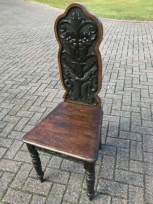 Beautiful Antique Carved Oak Hall Chair