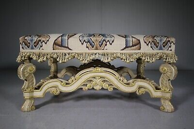 Large 19th Century Antique Upholstered Footstool