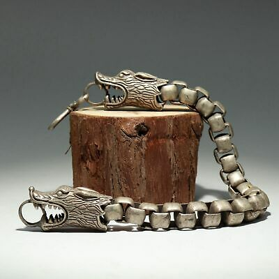 Collectable China Old Miao Silver Hand Carve Exorcism Dragon Auspicious Bracelet