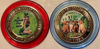 2020 St. Patrick's Day Four Queens Red & Blue cap set Silver Strike Tokens