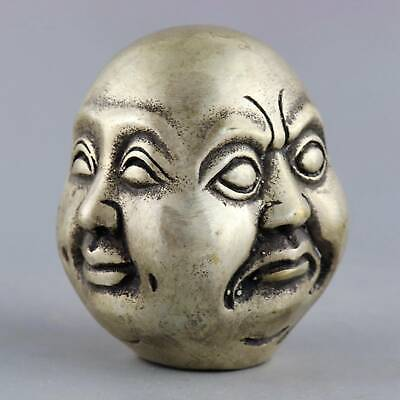 Collect Old Miao Silver Hand-Carved 4 Face Buddha Head Exorcism Buddhism Statue