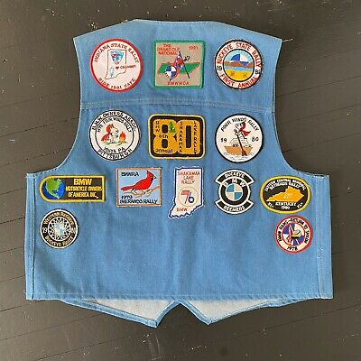 Vintage 70's / 80's Motorcycle Club Bikers Vest BMW MC Patches