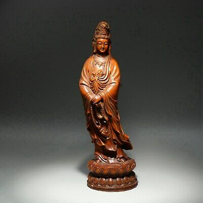 Collect China Old Boxwood Carve Guan Yin Hand Hold Buddha Bead Precious Statue