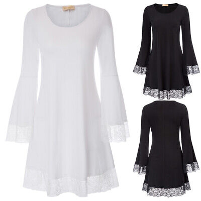 Womens Long Bell Sleeve Lace Trim Cotton A-Line Dress Knee Length Casual