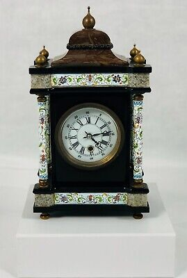 18th Century French marble and champleve enamel mantel clock
