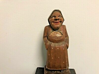 Hand Carved Old Black Forest Peasant Woman Statue