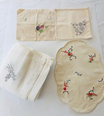 Vintage Traced Stamped Linen Table Cloth Doilies Semco Crewel Embroidered LOTx4