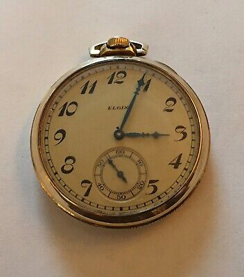 Vintage Elgin 12S 15J Pw Ps 10K Gold Plated Open Face Pocket Watch