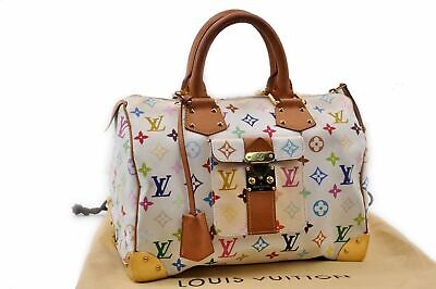 Auth Louis Vuitton Monogram Multicolor Speedy 30 White Hand Bag M92279 LV 87031