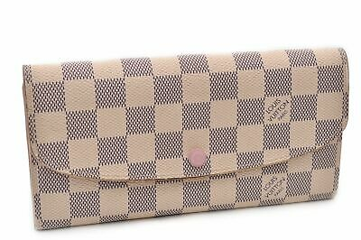 Auth Louis Vuitton Damier AzurPortefeuille Emily Long Wallet N41625 LV 92742