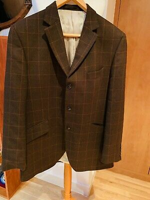 Austin Reed Men's Pure New Wool Brown/Amber Check Sports Blazer Jacket Size 42R