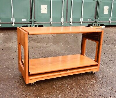 Retro Flip Out Wooden Mid Century Coffee Table With Cantilever Action - Vintage