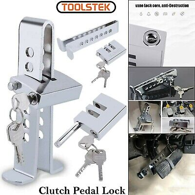 Car Stainless Brake Clutch Pedal Lock Steering Wheel Lock Security Anti-Theft UK