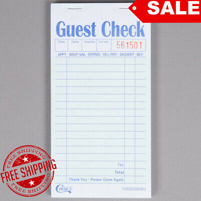 50 Books 2 Part Green White Carbon Restaurant Guest Checks 2500 Tickets