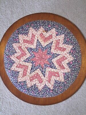 Round Wooden Sewing/Collectibles Box with Star Pattern Cloth Top