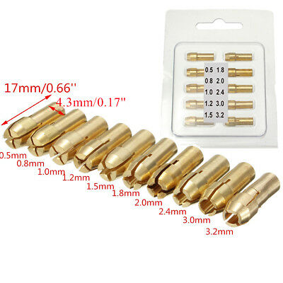 10pcs  Brass Drill Chuck Collet Bit For Rotary Tools 0.5-3.2mm 4.3mm c