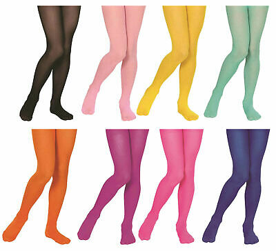Kids Girls Opaque Neon Colour Plain Tights Stretchy Dance Wear Pantyhose