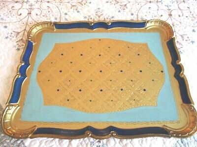 Large Ornate Royal & Aqua Blue Gold Gilt Italian Florentine Wood Tole Tray