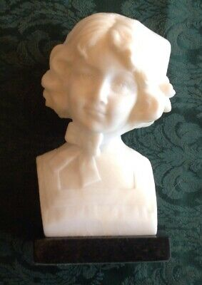 """Antique Art Deco Carved Alabaster Victorian Bust Sculpture Pretty Girl Lady 9""""T"""