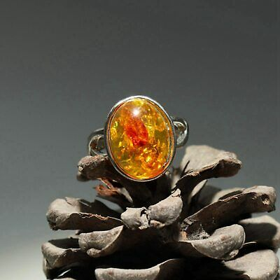 Collectable Handwork China Old Miao Silver Inlay Amber Carve Delicate Noble Ring