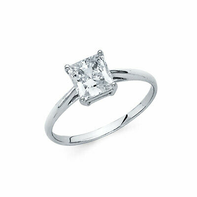 Solid 14K White Gold 1 CT Princess Solitaire Engagement Wedding Ring Sizes 5-9