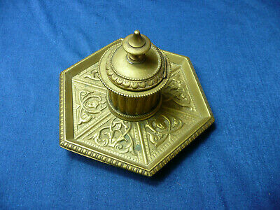 Antique  Victorian  Brass  Table Desk  Ink Well  Pen Stand