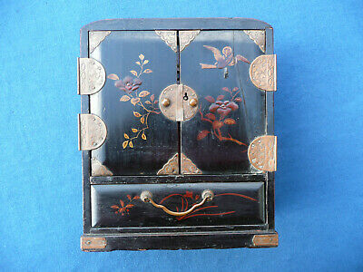 ANTIQUE19th c Japanese/Chinese Black Lacquered Miniature Jewellery Cabinet