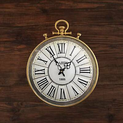 LARGE SKELETON HOME GARDEN WALL CLOCK ROMAN Pocket Watch Style METAL ROUND