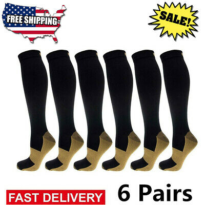 (6 Pairs) Copper Compression Socks 20-30mmHg Graduated Support Mens Womens S-XXL