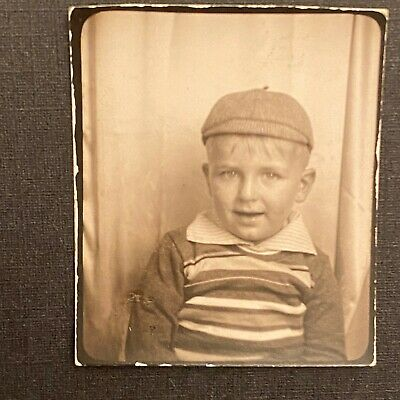 PHOTOBOOTH Young Baby Boy Small Child in Hat Blonde Hair Cute Smile Vintage