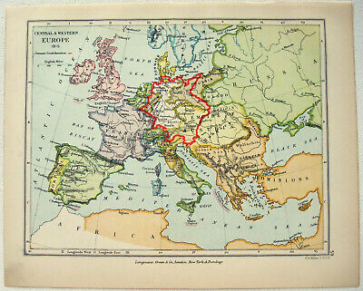 Vintage Longmans Map of Central & Western Europe in the Year 1815