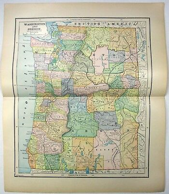 Original 1891 Map of Washington & Oregon by Hunt & Eaton. Antique