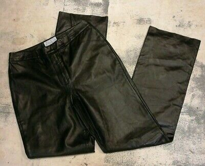 Saks Fifth Avenue Folio Collection Leather Woman's Pants Black Butter Soft 10